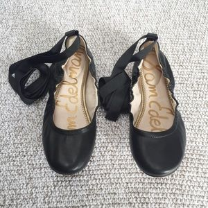 Sam Edelman leather ballet flat with ribbon ties